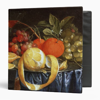 Still Life of Grapes, Oranges and a Peeled Lemon 3 Ring Binders