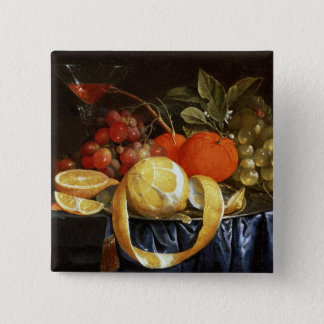 Still Life of Grapes, Oranges and a Peeled Lemon Pinback Button