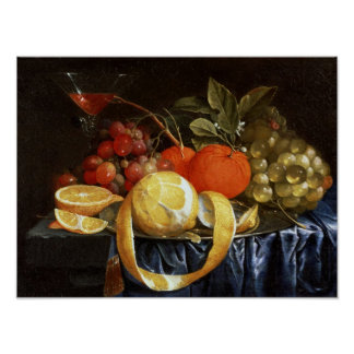 Still Life of Grapes, Oranges and a Peeled Lemon Poster