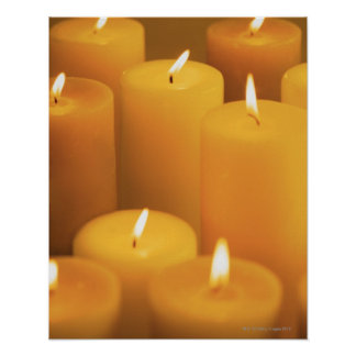 Still life of lighted candles poster