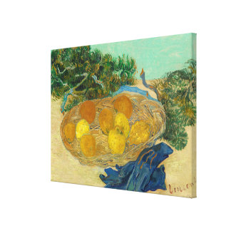Still Life of Oranges and Lemons with Blue Canvas Print