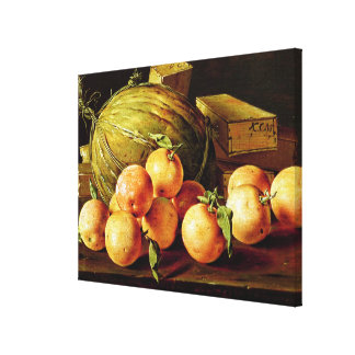 Still Life of Oranges, Melons and Boxes Canvas Print