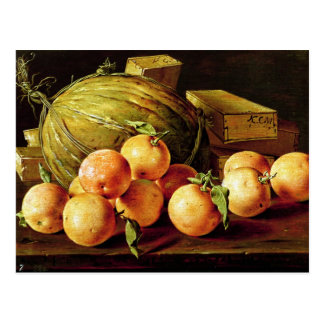 Still Life of Oranges, Melons and Boxes Postcard