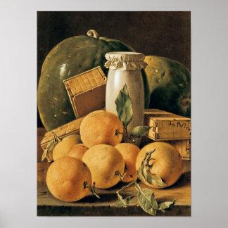 Still Life of Oranges, Watermelon Poster