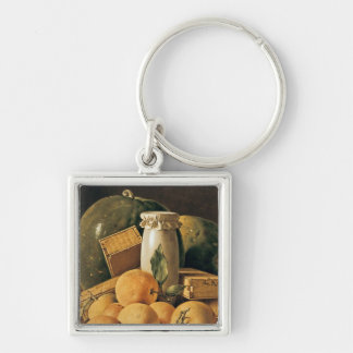 Still Life of Oranges, Watermelon Silver-Colored Square Keychain