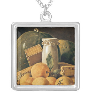 Still Life of Oranges, Watermelon Silver Plated Necklace