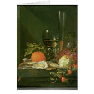Still Life of Oysters, Grapes, Bread Card