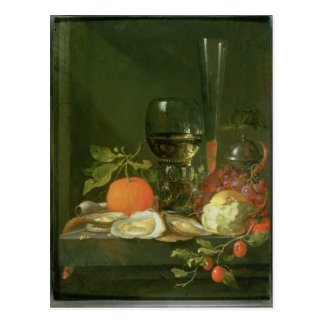 Still Life of Oysters, Grapes, Bread Postcard