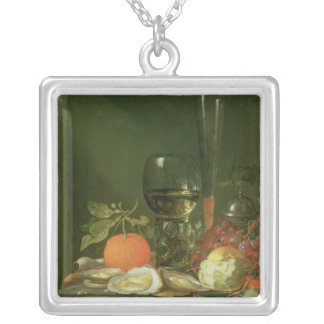 Still Life of Oysters, Grapes, Bread Silver Plated Necklace