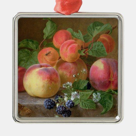 Still Life of Peaches Metal Ornament