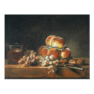 Still Life of Peaches, Nuts, Grapes Postcard