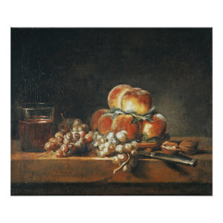 Still Life of Peaches, Nuts, Grapes Poster