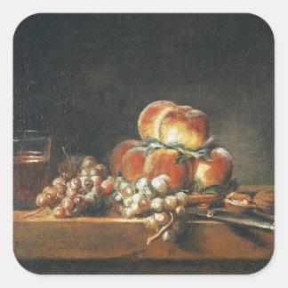 Still Life of Peaches, Nuts, Grapes Square Sticker