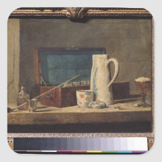 Still Life of Pipes and a Drinking Glass Square Sticker