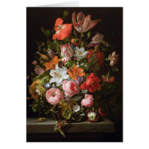 Still life of roses  lilies, tulips card
