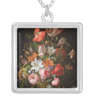 Still life of roses  lilies, tulips silver plated necklace
