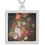 Still life of roses  lilies, tulips square pendant necklace