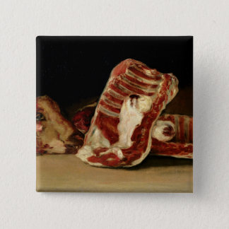 Still life of Sheep's Ribs and Head Pinback Button