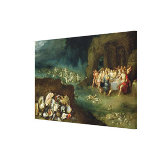 Still life of shells with the Feast of the Gods Canvas Print