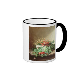 Still Life of Strawberries Carrots and Cabbage Mugs