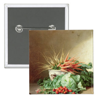 Still Life of Strawberries, Carrots and Cabbage Pinback Button