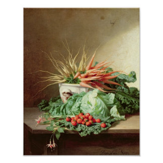 Still Life of Strawberries, Carrots and Cabbage Poster