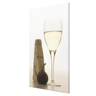 Still life of wine, cheese and fig canvas print