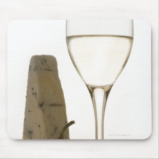 Still life of wine, cheese and fig mouse pad