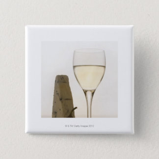 Still life of wine, cheese and fig pinback button