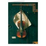 Still Life Old Violin, Harnett, Vintage Victorian Card
