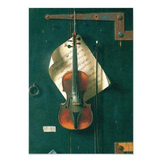 Still Life Old Violin, Harnett, Vintage Victorian 5x7 Paper Invitation Card