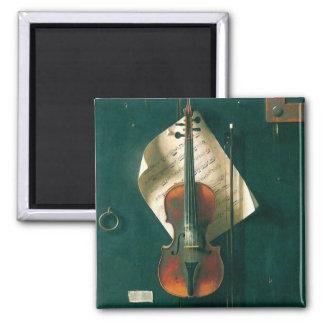 Still Life Old Violin, Harnett, Vintage Victorian Fridge Magnet