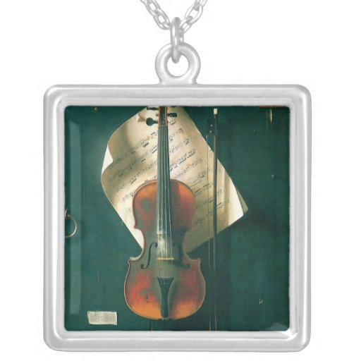 Still Life Old Violin, Harnett, Vintage Victorian Personalized Necklace