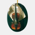 Still Life Old Violin, Harnett, Vintage Victorian Christmas Tree Ornaments