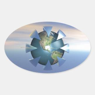 Still Life On Earth Oval Sticker