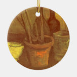 Still Life Paintbrushes in a Pot Vincent van Gogh Christmas Ornament