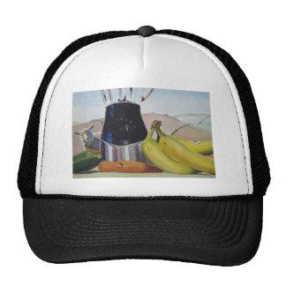 Still life painting fruit vegetables blender trucker hat