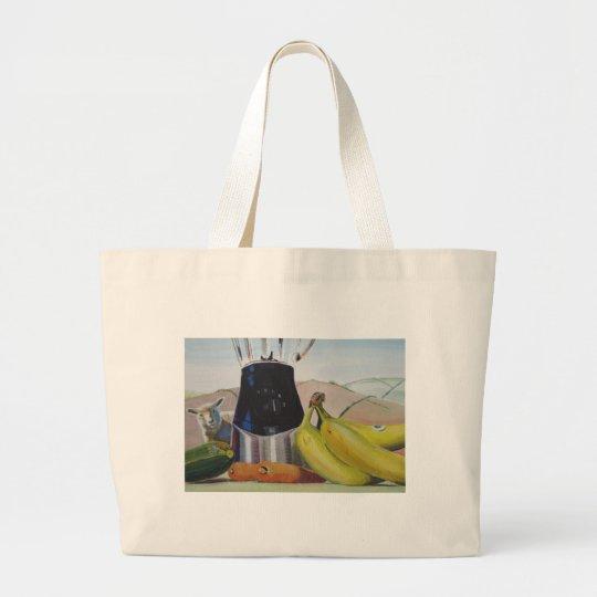 Still life painting fruit vegetables blender large tote bag