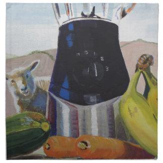 Still life painting fruit vegetables blender printed napkin
