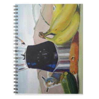 Still life painting fruit vegetables blender journal