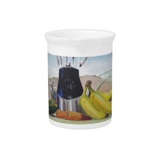 Still life painting fruit vegetables blender beverage pitcher