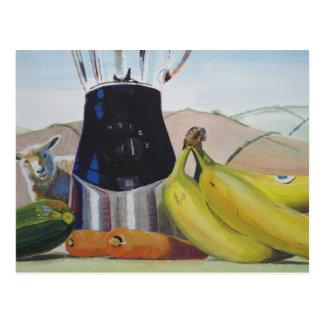 Still life painting fruit vegetables blender postcards