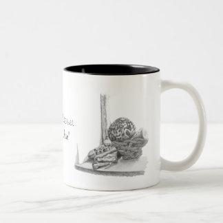 Still life picture of shells and pebbles china mug