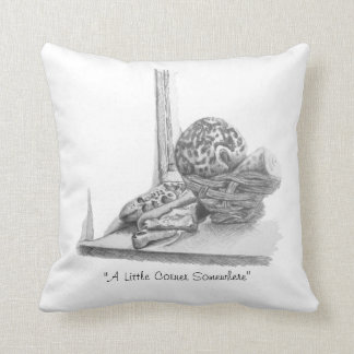 Still life picture of shells and pebbles throw pillow
