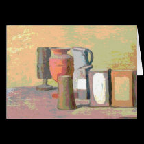 Still Life Pink and Green Abstract cards