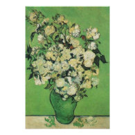 Still life - Pink Roses in a Vase,van Gogh Posters
