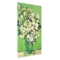 Still life - Pink Roses in a Vase, Vincent van Gog Stretched Canvas Print