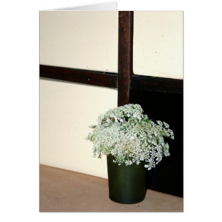 Still life Queen Anne's Lace with green vase. Greeting Cards