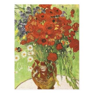 Still life - Red poppies and daises Postcard