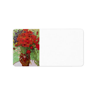 Still Life Red Poppies and Daisies by Van Gogh Personalized Address Label